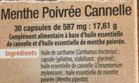 Menthe Poivrée Cannelle - Ingrediënten - fr