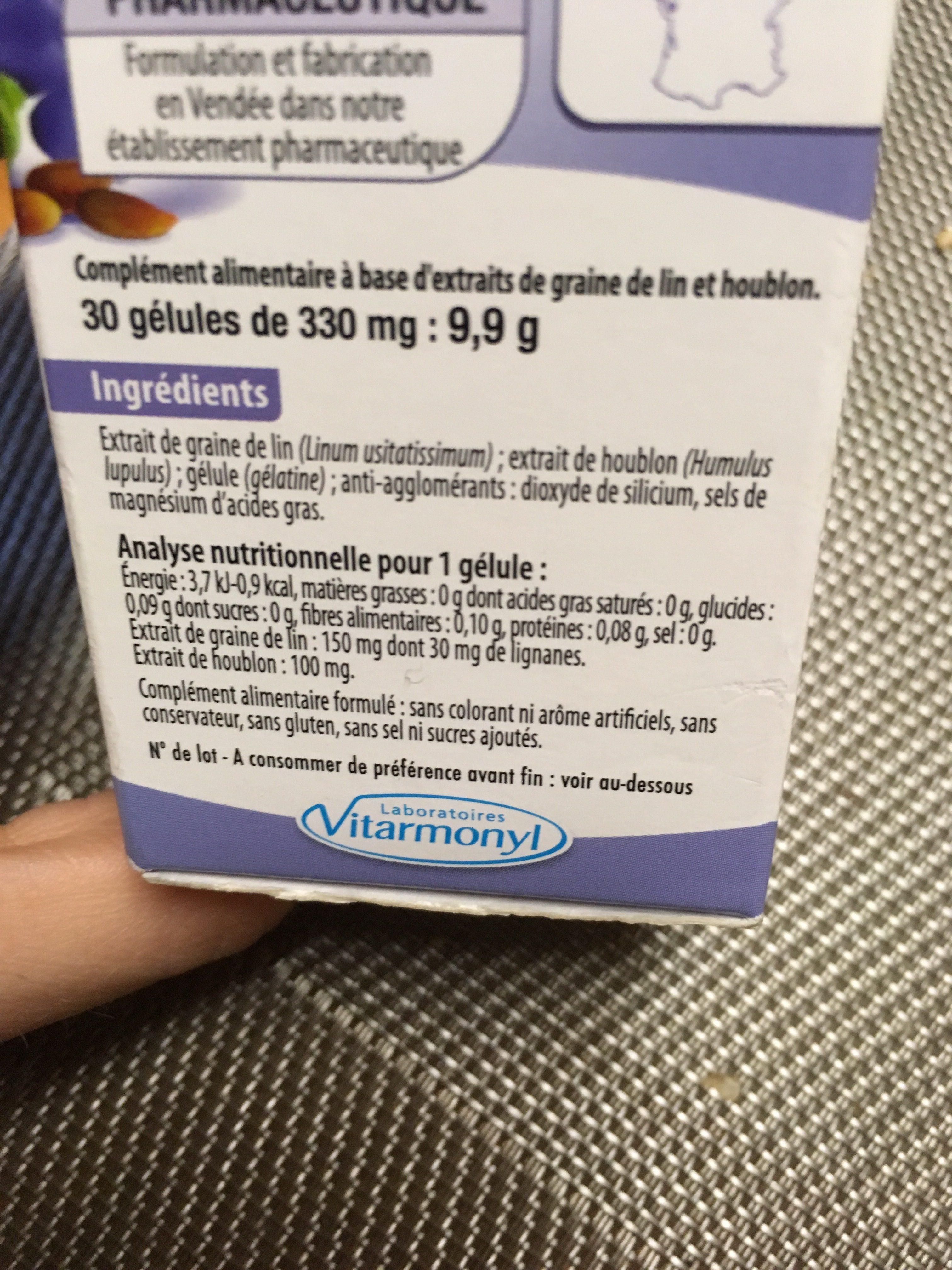 Vitarmonyl Graines De Lin Houblon Gélules - Ingrédients