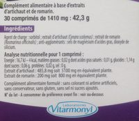 Vitarmonyl Artichaut Romarin Gélules - Ingrediënten - fr