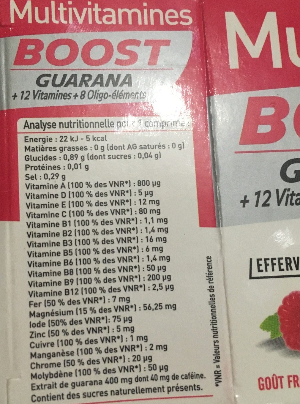 Multivitamines BOOST - Informations nutritionnelles