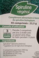 Spiruline végétale - Voedingswaarden - fr