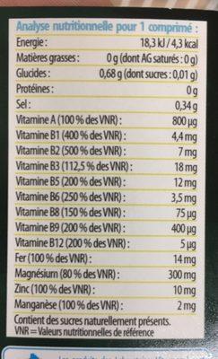 Magnésium super optimal - Voedingswaarden - fr