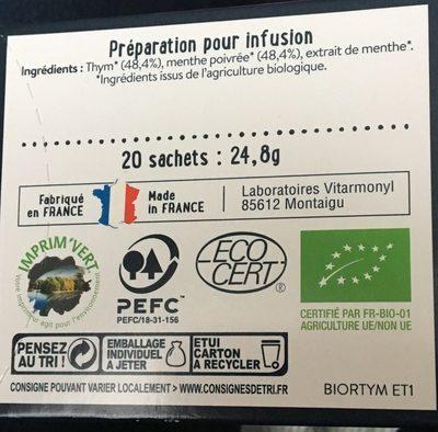 Infusion Thym Menthe - Inhaltsstoffe - fr