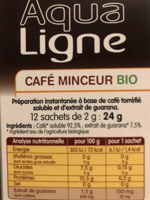 Aqualigne café minceur - Ingrediënten - fr