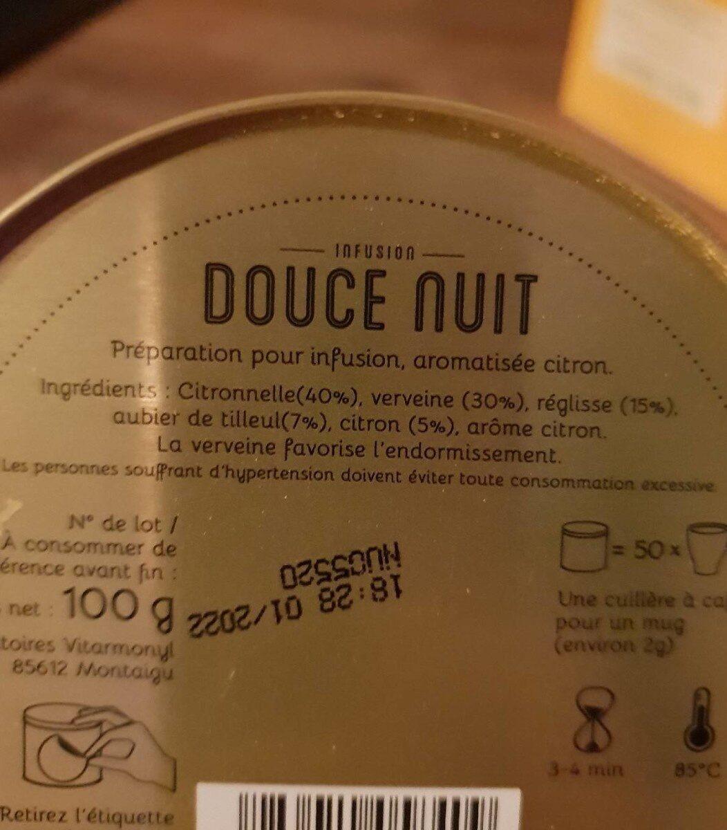 Infuz Douce nuit - Voedingswaarden - fr