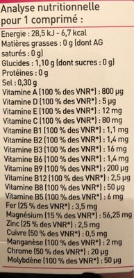 12 Vitamines + 7 Oligo-éléments - Voedingswaarden - fr