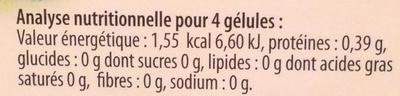 Charbon 1000 mg ballonnements - Informations nutritionnelles