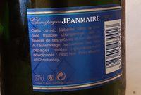 Champagne Jean Maire cuvée brute - Ingrédients