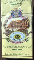 Tablette Chocolat Noir Praslines - 100 G - Mazet - Product - fr