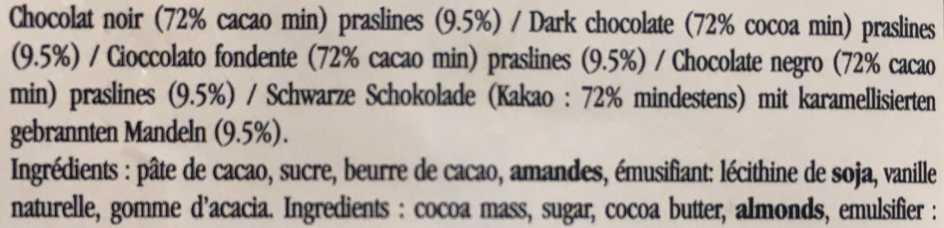 Tablette Chocolat Noir Praslines - 100 G - Mazet - Ingredients - fr
