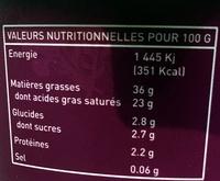 Crème de Bresse épaisse - Informations nutritionnelles - fr