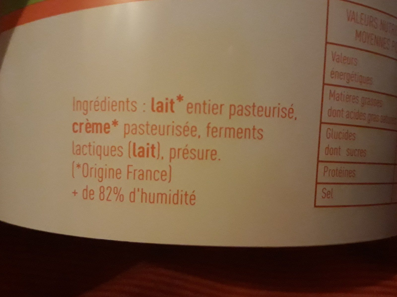 Fromage frais - Ingredients