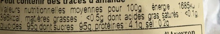 Meringue Striée Parfum Vanille - Informations nutritionnelles - fr