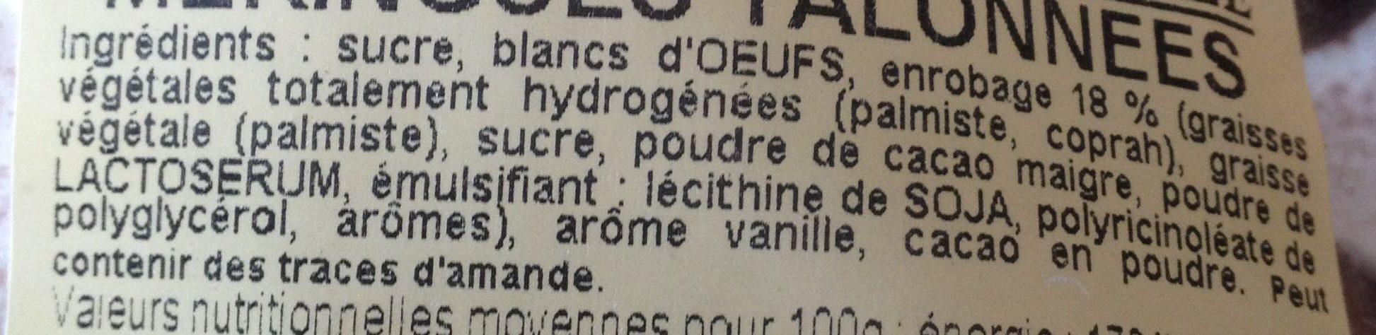 Meringues talonnées au cacao, 200g - Ingrédients - fr