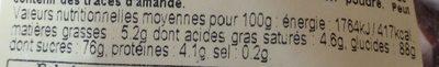 Meringues talonnées au cacao, 200g - Informations nutritionnelles - fr