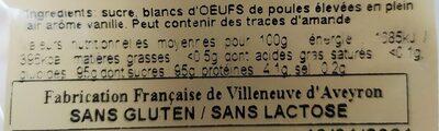 Meringuettes Parfum Vanille (120g) - Informations nutritionnelles - fr