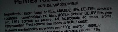 Petites tuiles aux amandes - Ingredients - fr
