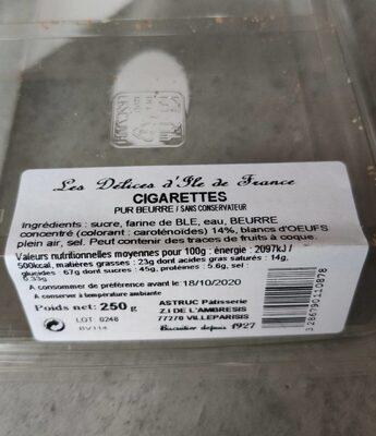 Cigarettes pur beurre - 营养成分 - fr