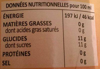 Mangue - Informations nutritionnelles - fr