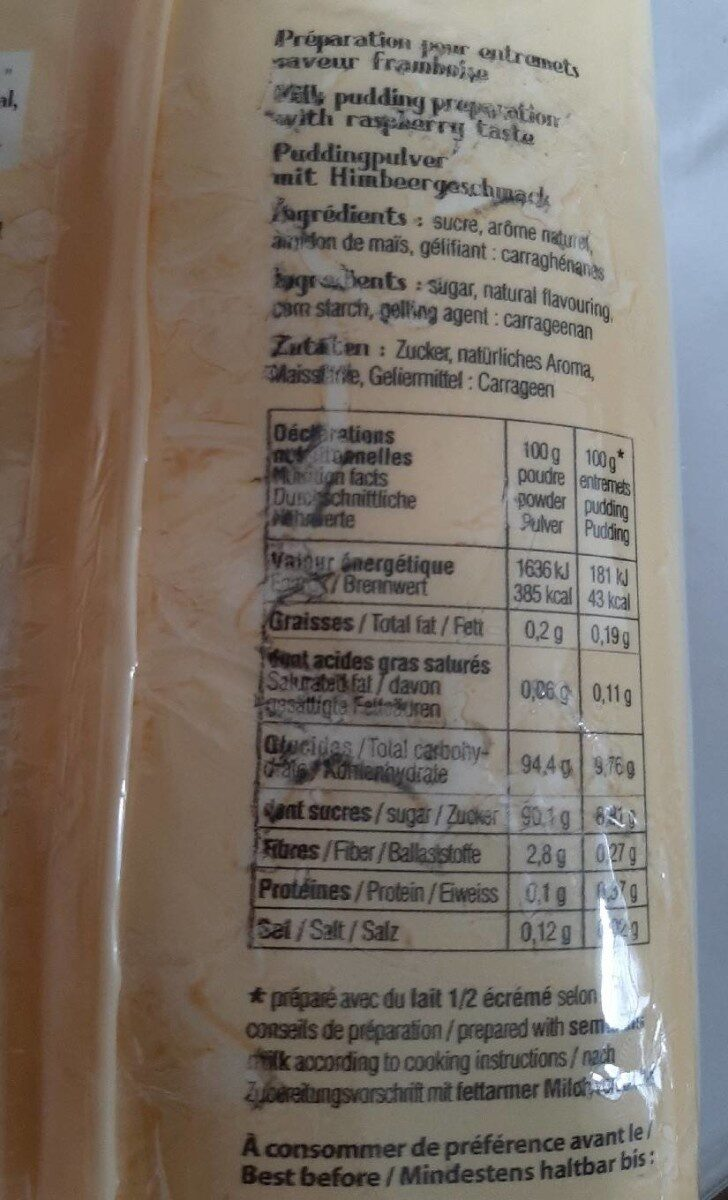 Flan préparation pour entremets - Informations nutritionnelles