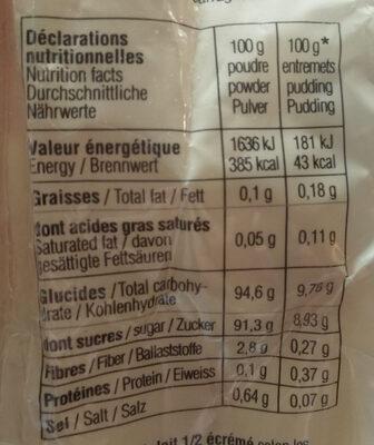 Préparation pour entremets saveur caramel au beurre salé - Nutrition facts - fr