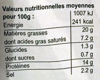 Saucisse jambon tranches fines Tempe - Voedingswaarden - fr
