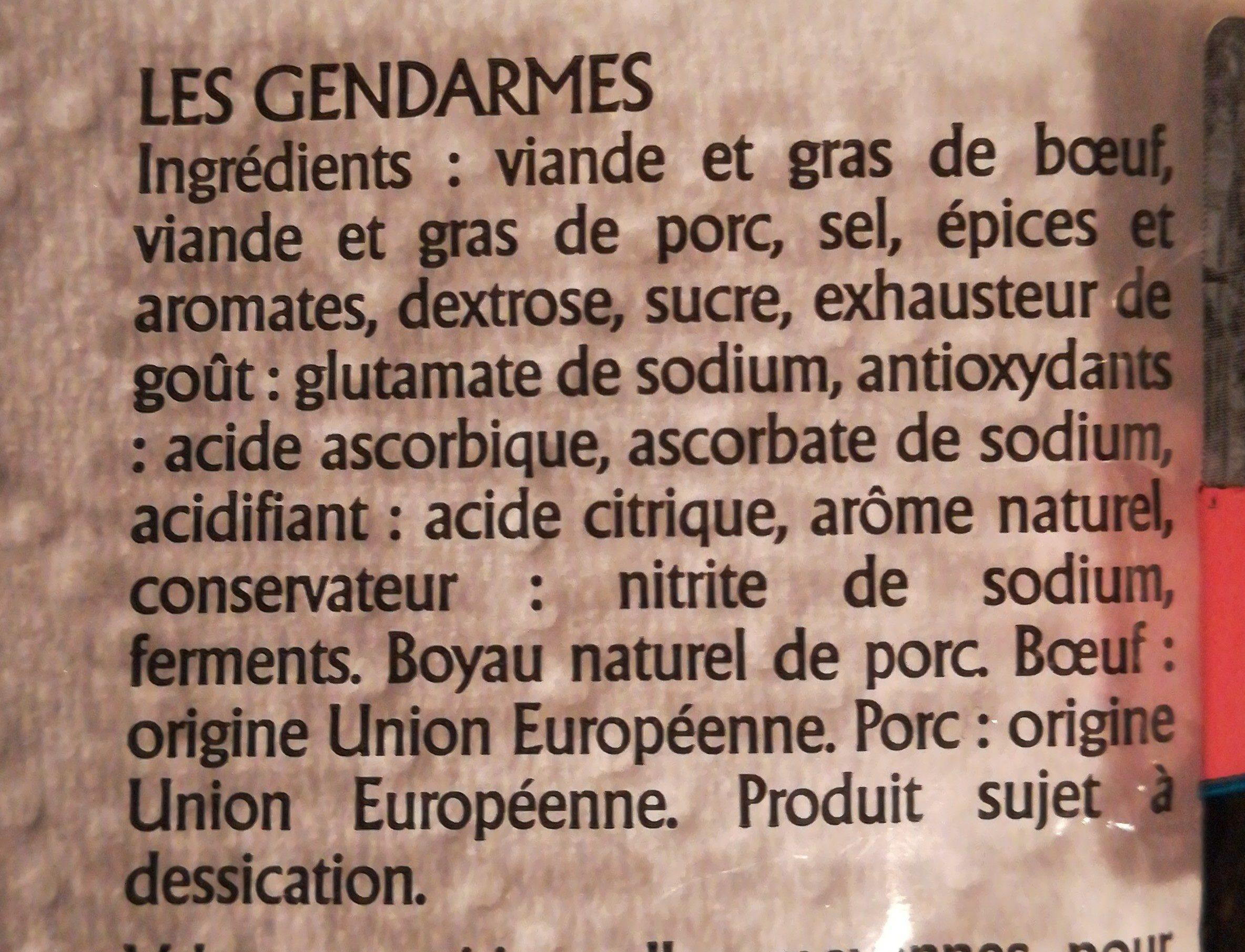 Saucisses Gendarmes, - Ingrédients - fr
