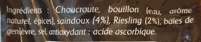Véritable choucroute d'Alsace - Ingrédients