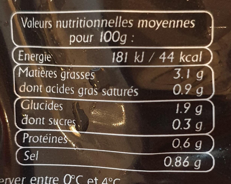 Véritable choucroute d'Alsace - Informations nutritionnelles
