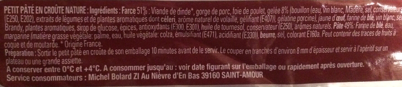 Mini Pâté en Croûte - Ingrédients - fr