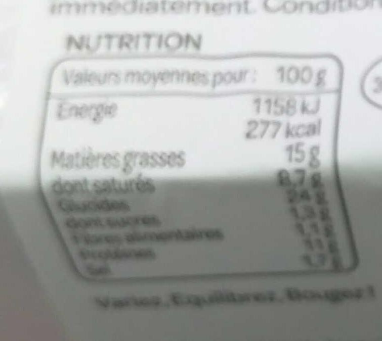 Mini Pâté en Croûte de volaille - Informations nutritionnelles - fr