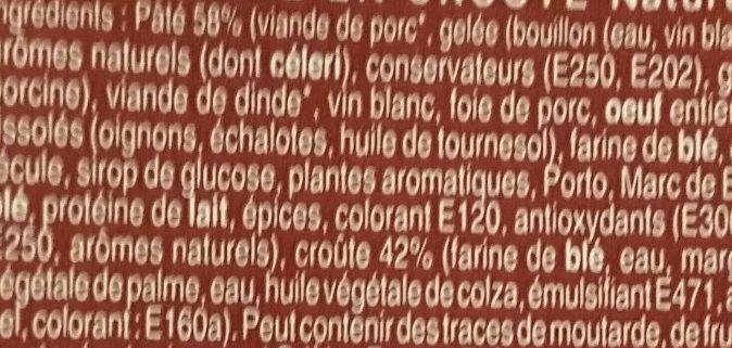 Pâté en croûte nature - Ingrédients - fr