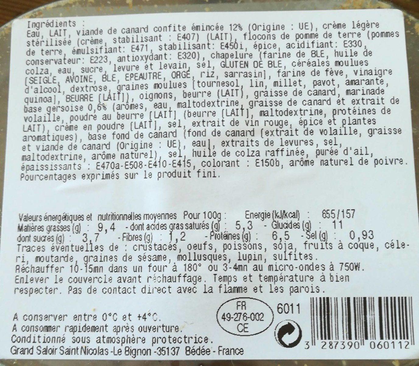 Parmentier de canard - Voedingswaarden - fr