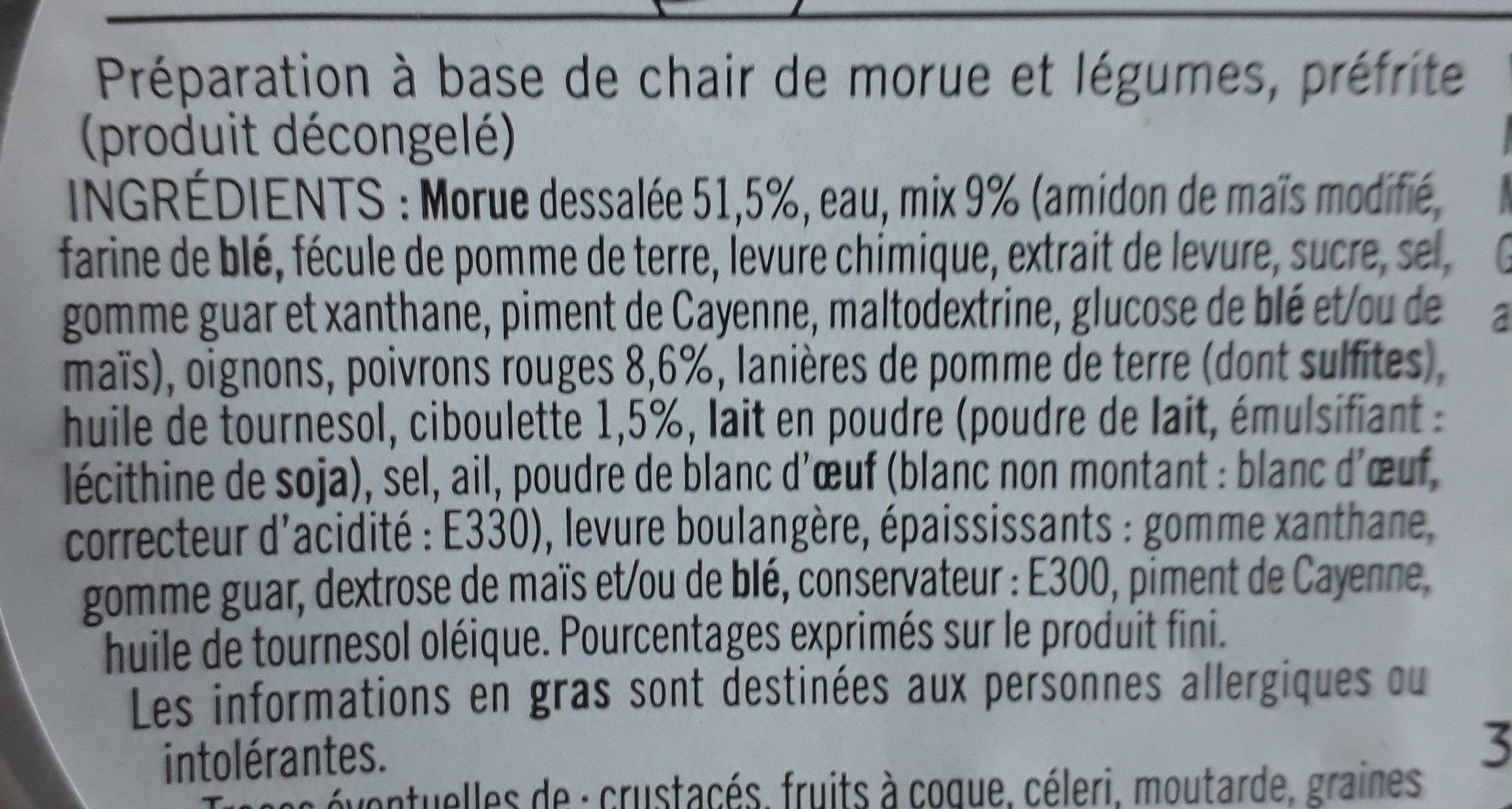6 Accras Morue, Poivron Rouge et Ciboulette - Ingrediënten - fr