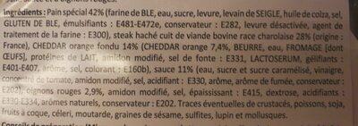 Burger charolais, cheddar sauce barbecue - Ingrédients - fr