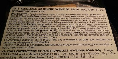 Feuilleté Ris de veau morilles - Ingrediënten
