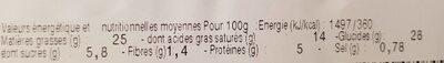 Feuilleté bloc de foie gras de canard, pommes Calvados - Nutrition facts - fr