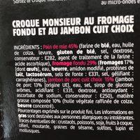 Croque Monsieur micro ondable SAPRESTI - Ingredients - fr