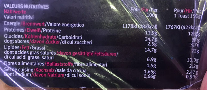 Croque micro-ondable jambon fromage - Nutrition facts
