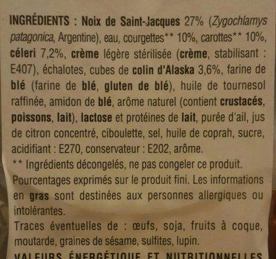 Cassolette Saint Jacques, julienne de légumes - Ingredients - fr