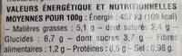 Cassolette Saint Jacques, julienne de légumes - Nutrition facts - fr