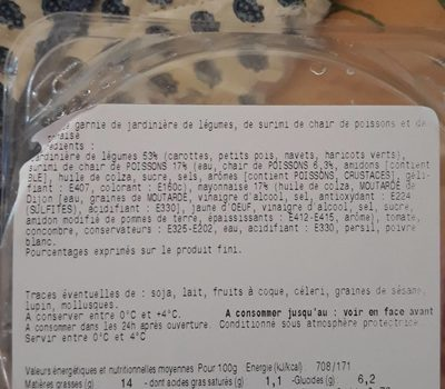Coquille médaillon surimi - Ingrediënten