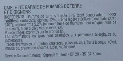 Tortilla Pommes de Terre Oignons - Ingrédients - fr