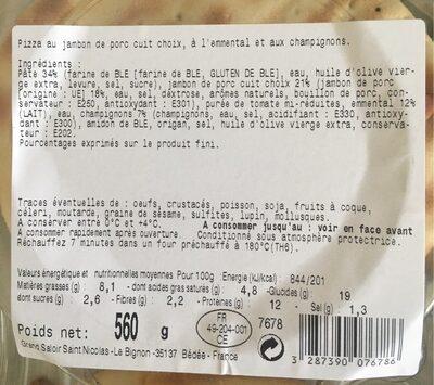 Pizza Jambon Emmental Champignons - Informations nutritionnelles - fr