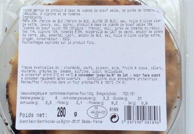 Pizza Boeuf Tomates Oignon - Informations nutritionnelles - fr