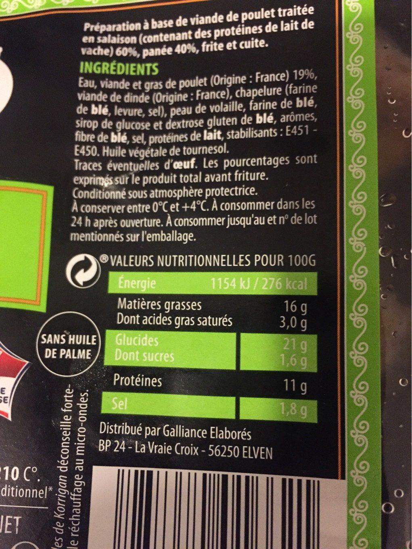 Nuggets de volaille - Informations nutritionnelles