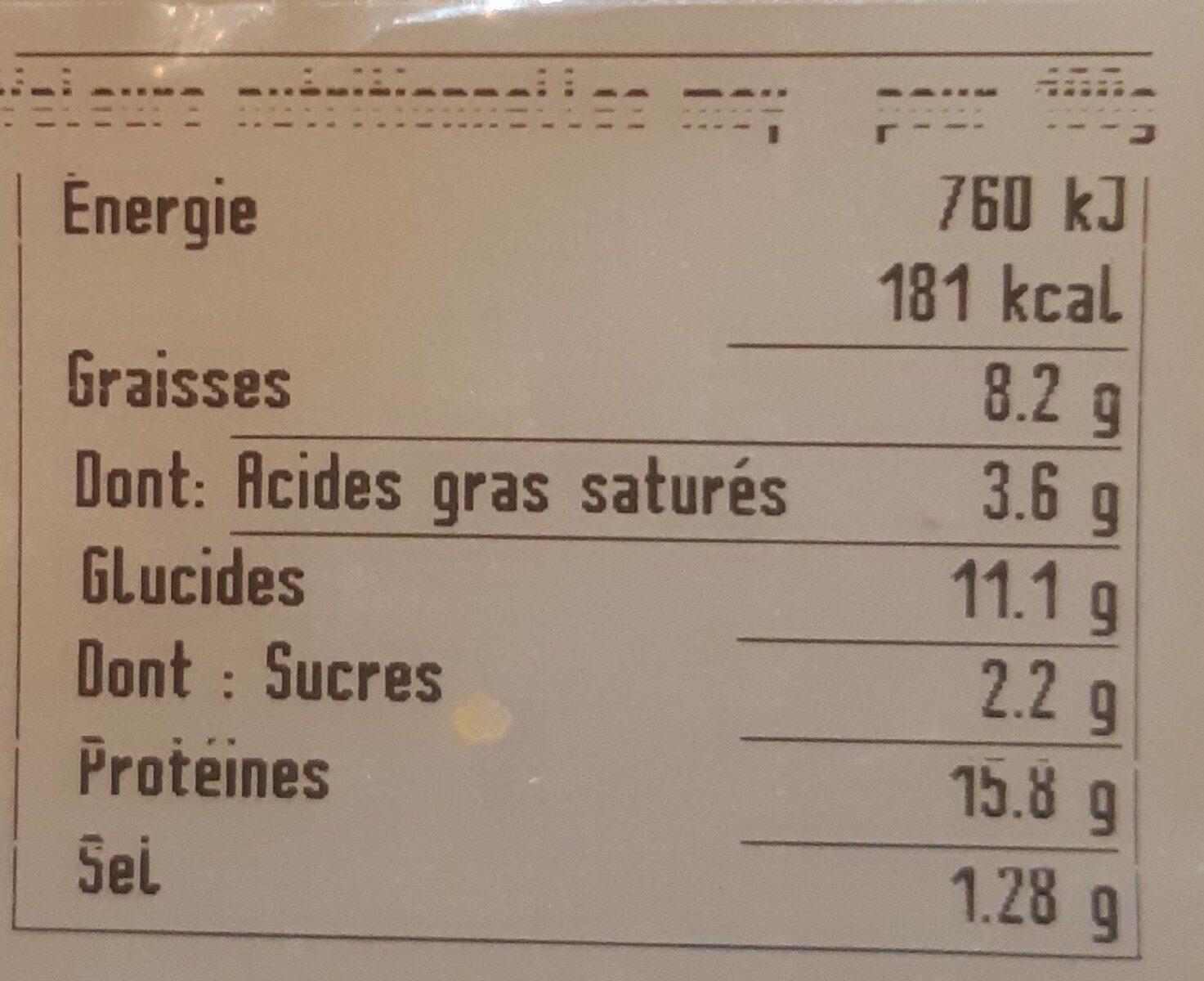 Le cordon bleu de poulet - Informations nutritionnelles - fr