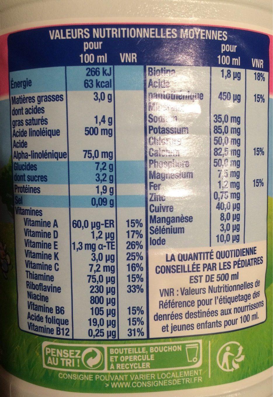 Eveil Croissance Bio - 3 - de 10 à 36 mois - Informations nutritionnelles