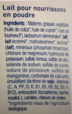 Milumel Bio 1er Age - Ingrédients - fr