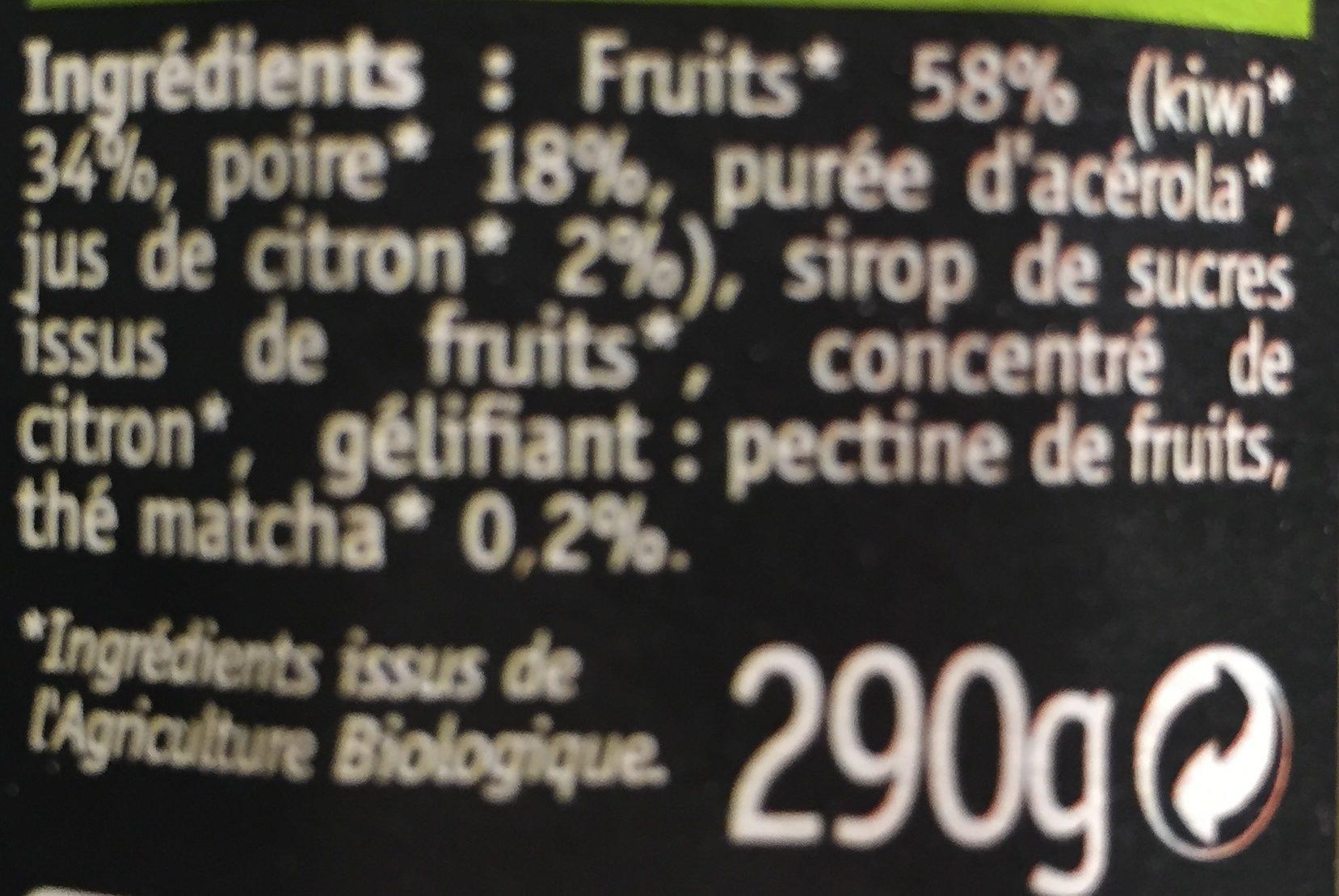 Kiwi poire thé matcha - Ingredientes